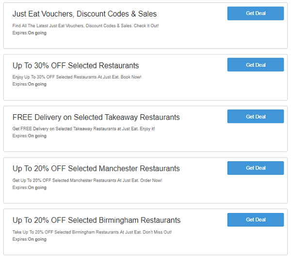 Just Eat discount voucher codes