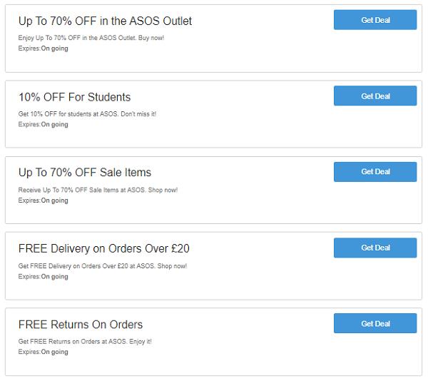 ASOS discount voucher codes