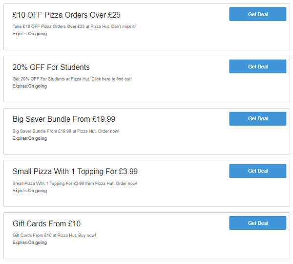 Pizza Hut voucher codes