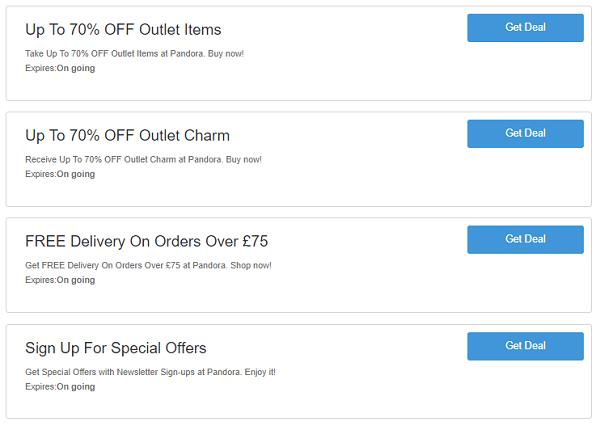 Pandora discount codes