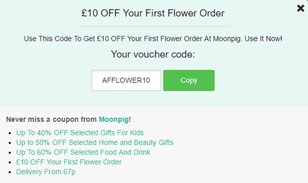 voucher codes for Moonpig