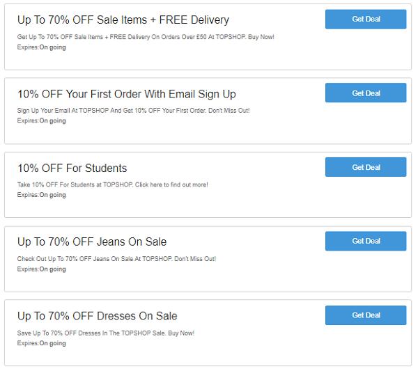 Topshop discount codes