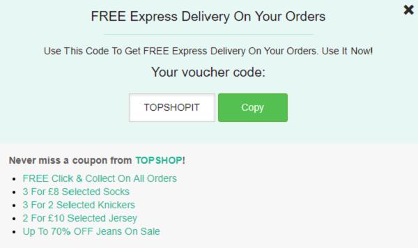 Topshop discount code