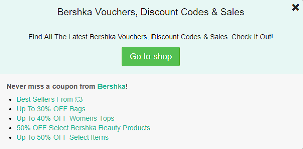 Bershka promo code