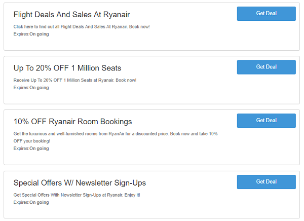 Ryanair discount codes