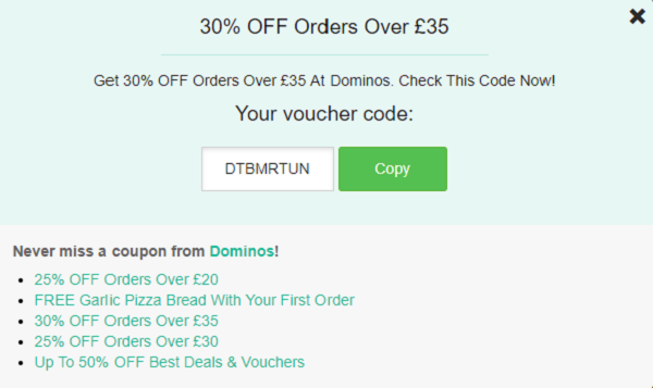 Dominos voucher