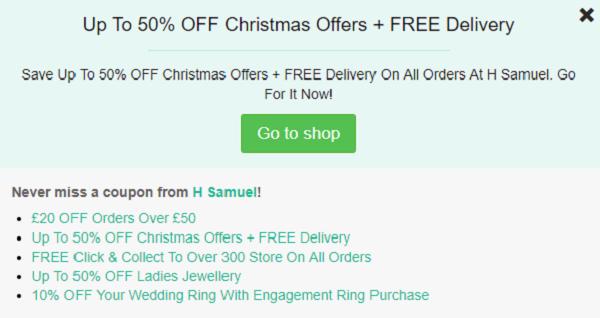 H Samuel discount code
