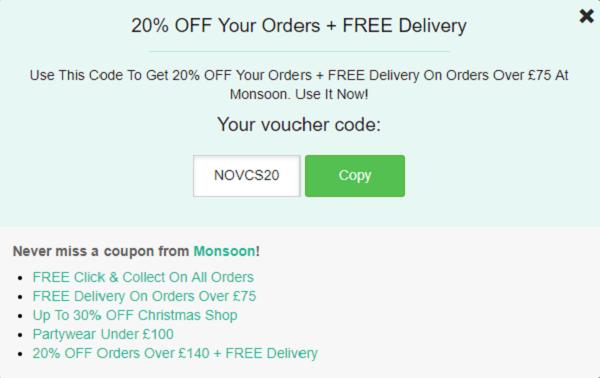 Monsoon discount code