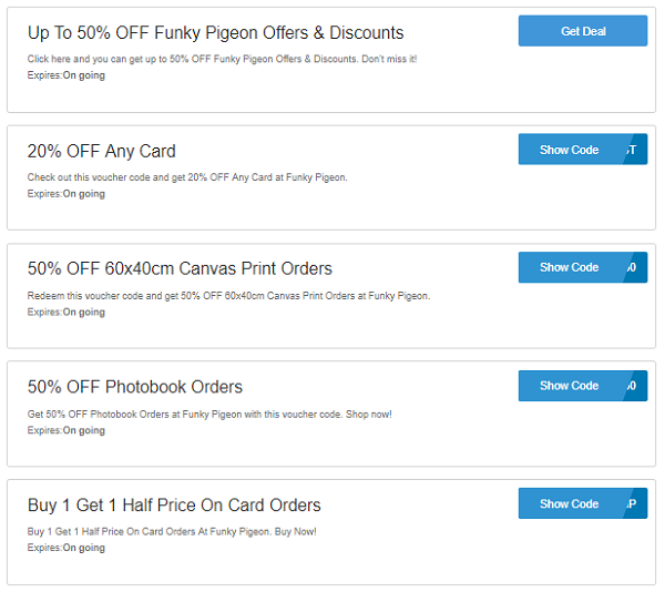 Funky Pigeon discount codes