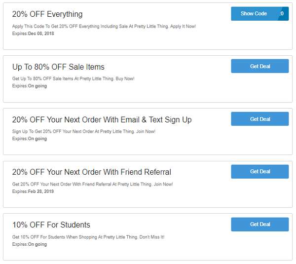Pretty Little Thing discount codes