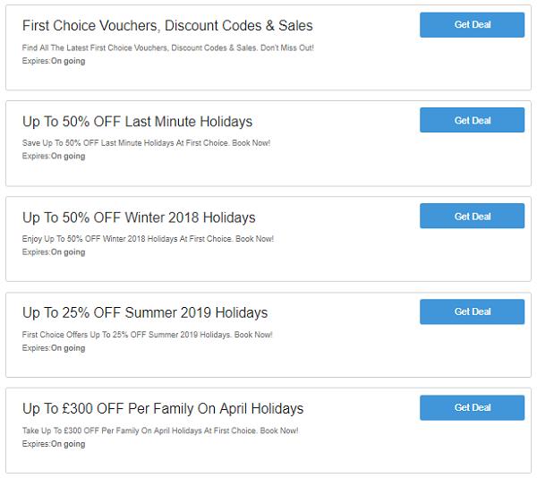 First Choice discount codes