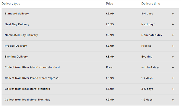 River Island FREE delivery discount code