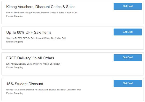 Kitbag discount codes
