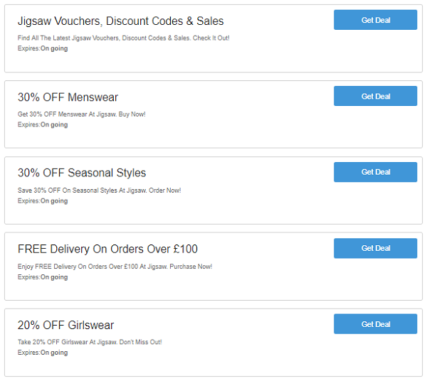 Jigsaw discount codes