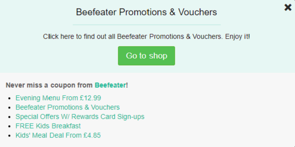 Beefeater voucher