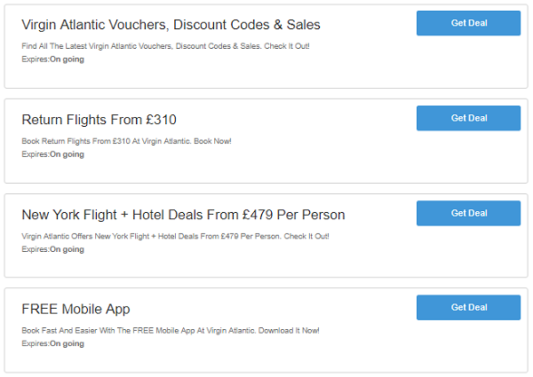 Virgin Atlantic discounts
