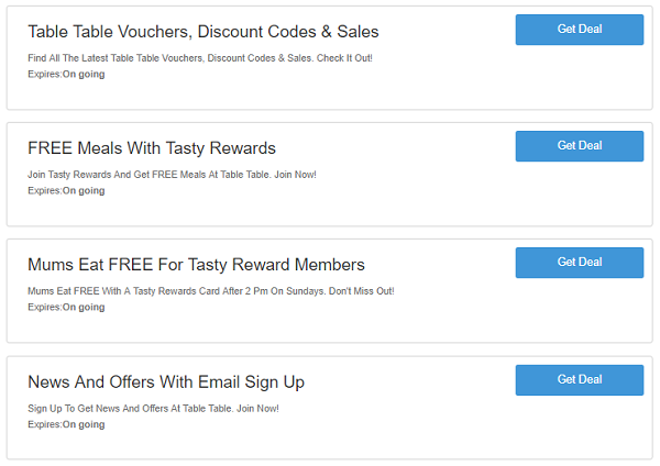 Table Table vouchers