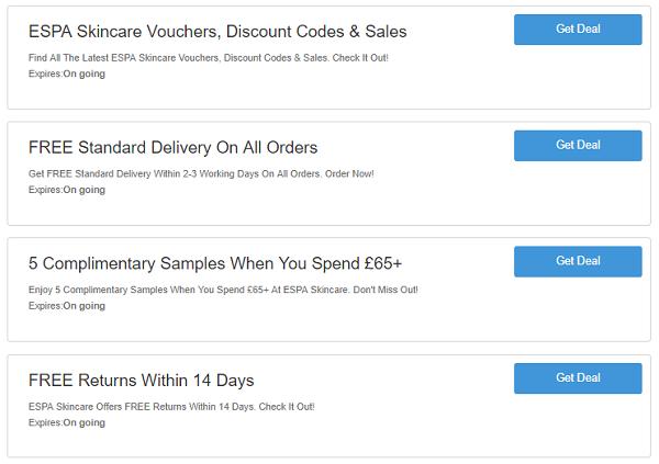 Espa Skincare discount codes
