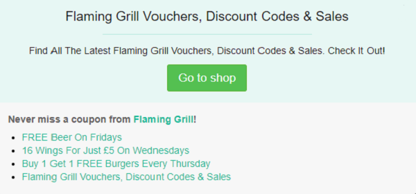 Flaming Grill voucher