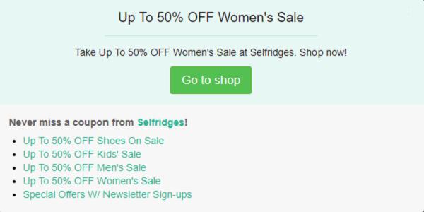 Selfridges discount code