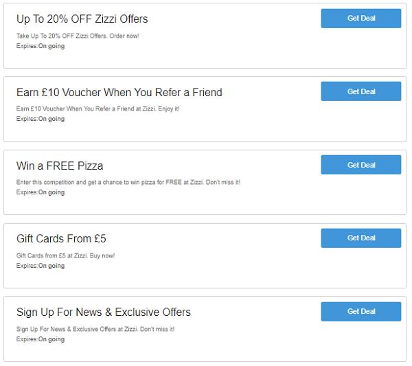 Zizzi vouchers codes