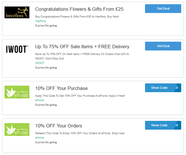 Flower voucher codes