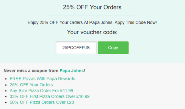 Papa Johns voucher
