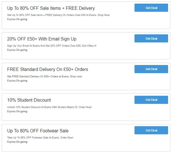 Evans discount codes