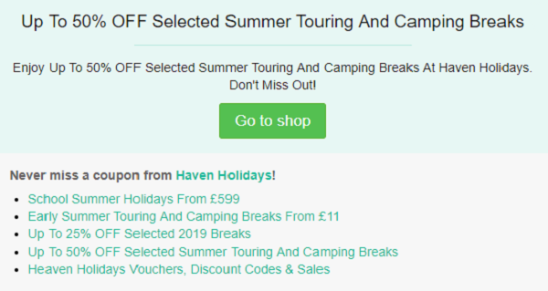 Haven Holidays discount code