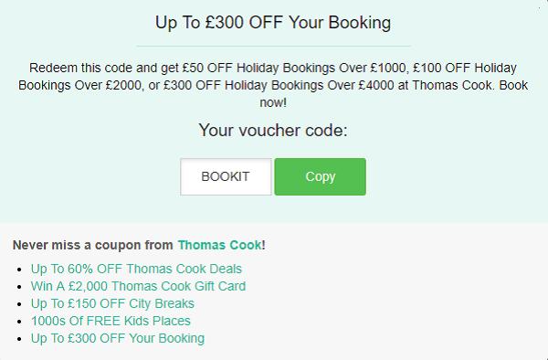 Thomas Cook discount code