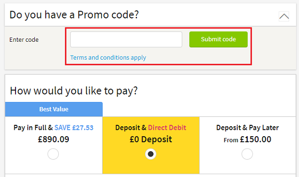 discount code for Thomas Cook