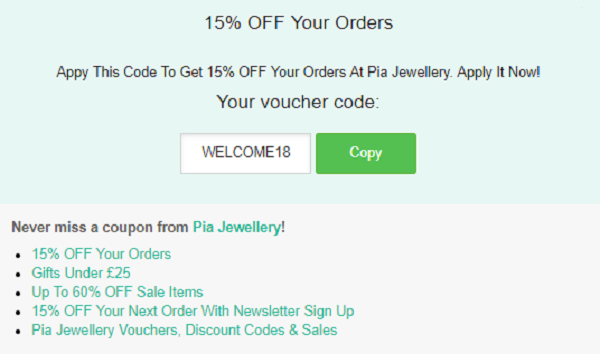 Pia Jewellery discount code