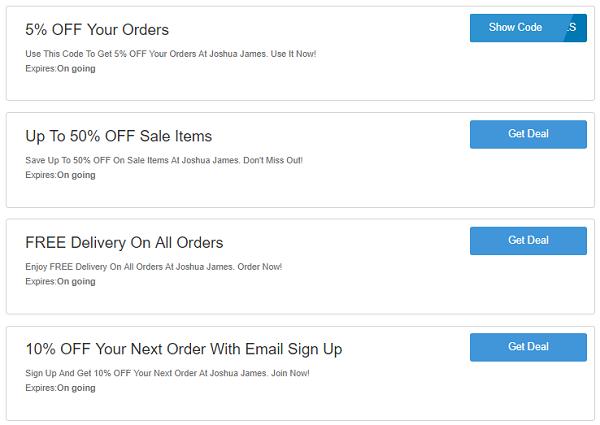 Joshua James discount codes