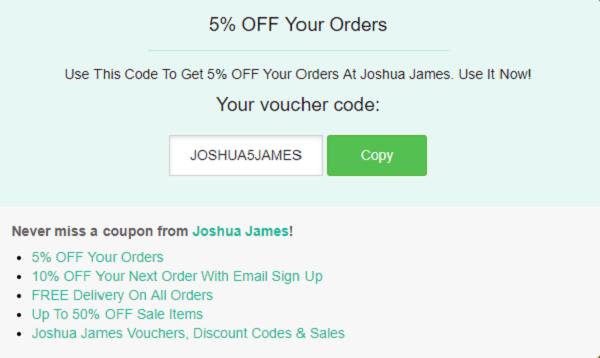 Joshua James discount code