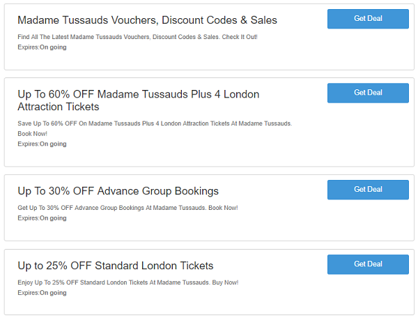 Madame Tussauds discounts