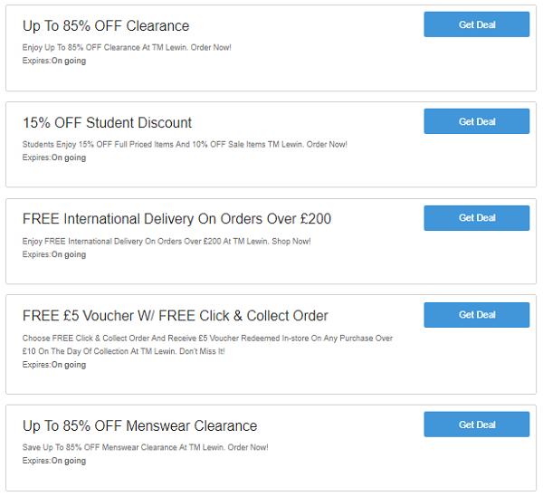 T.M Lewin discount codes