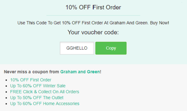 Graham and Green discount code