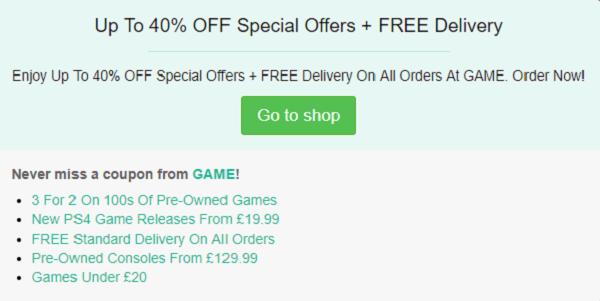 GAME promo code