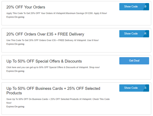 Vistaprint promo codes