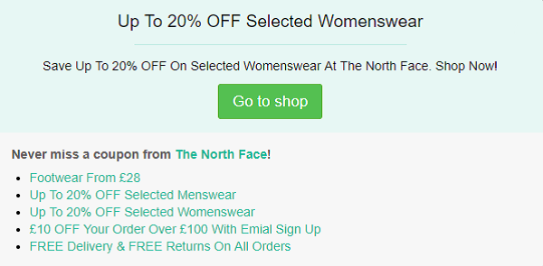 The North Face discount code