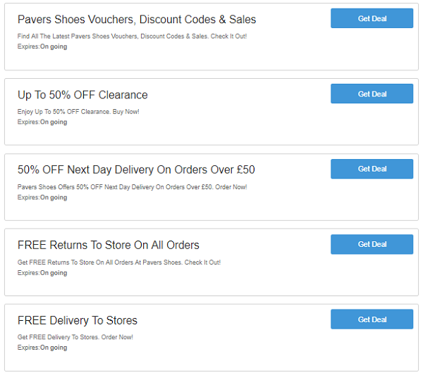 Pavers Shoes discount codes