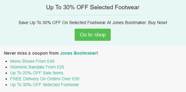Jones Bootmaker discount vouchers