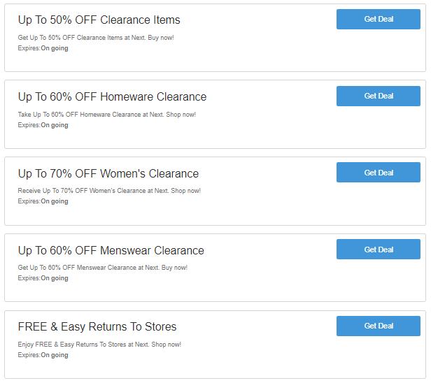 Next discount codes