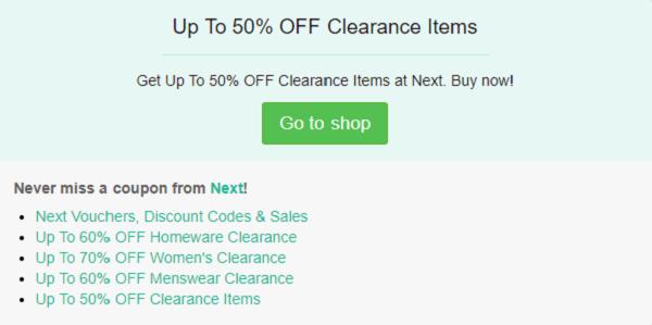 Next discount code