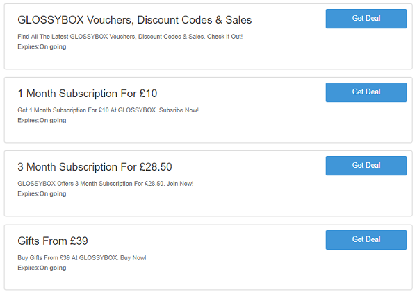 Glossybox discount codes