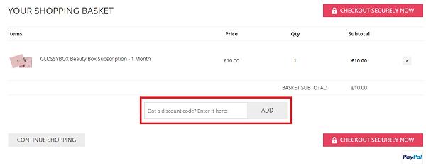 Glossybox discount voucher