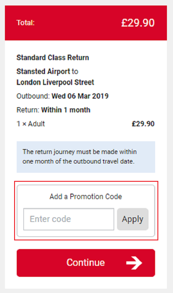 Stansted Express promotion codes