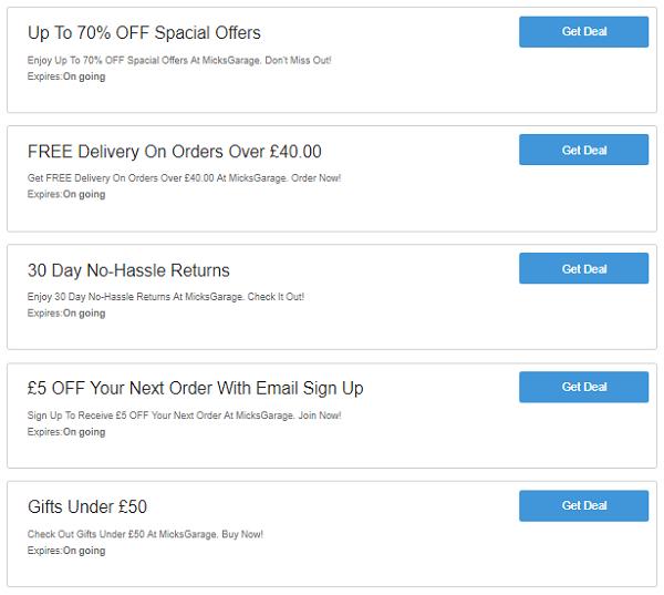 MicksGarage discount codes