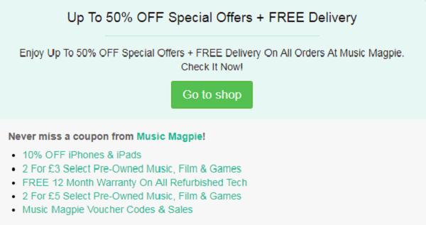 Music Magpie voucher code