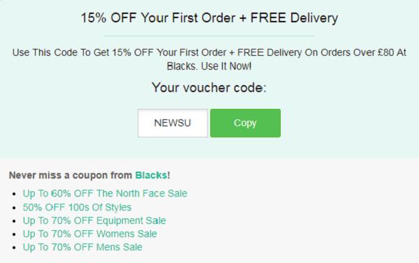 Blacks discount code